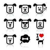 Dog icons set - happy, sad, angry