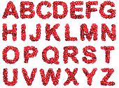 Red flower alphabet isolated on white backround