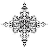 Ornamental black and white snowflake