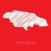 Map of the country of Jamaica