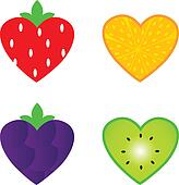 Heart shaped fruit collection isolated on white