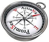 action vs promises concept compass