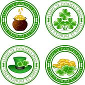 vector illustration of a set of green  stamps with four leaf clover shape, pot, gold coins, leprechaun hat and the text Happy St. Patrick's Day written inside the stamp