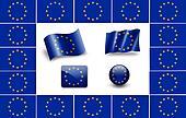 flag of Europe. european flag. icon set