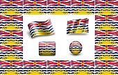 flag of British Columbia. icon set