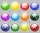 Glossy colore buttons with zodiac signs for web