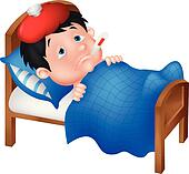 Sick boy cartoon lying in bed
