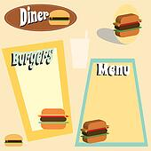 retro burger and dnier graphics