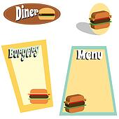 retro burger menu graphics