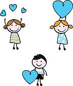 Stick doodle kids figures with heart banners