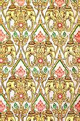Thai pattern background with golden and white