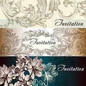 Collection of vector wedding cards in vintage style