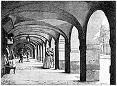 The arcades of the Place des Vosges, vintage engraving.