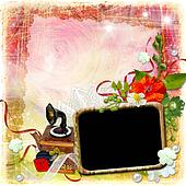 Grunge textured background with framework and flowers.