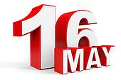 May 16. 3d text on white background.