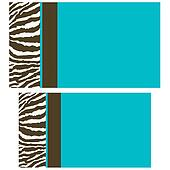 Brown Blue Zebra Business Cards