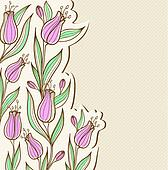 Floral background with pink tulips