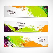 Banner and header set grunge holi with colorful colours splash. illustration vector