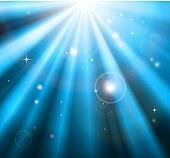 Bright blue light rays background