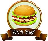 A pure beef label with a burger