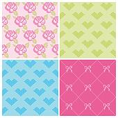 Set of Backgrounds - Stitch Roses and Hearts - in vector