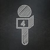 News concept: Microphone on chalkboard background