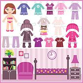 Paper doll with a set of clothes an
