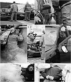 Car accident scene collage.