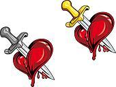 Cartoon heart with dagger