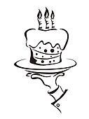 the symbol of cake holdling hand