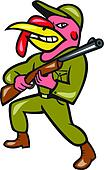 Turkey Hunter Carry Rifle Shotgun Cartoon