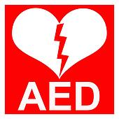 Isolation of a red AED Sticker