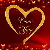 love you in golden heart in red