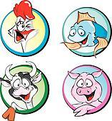 Cow, Pork, Chicken, Fish