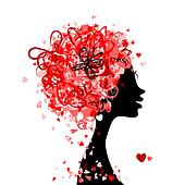 Female head with hairstyle made from tiny hearts for your design