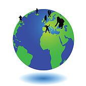 world and the people on it vector illustration