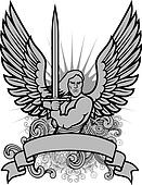 Vector Warrior Angel Illustration