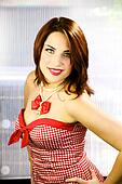 christmas portrait of italian beautiful redhead girl
