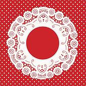 Lace Frame,Red Polka Dot Background