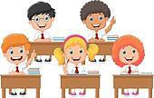 School children cartoon in classroo