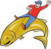 Fisherman Riding Jumping Trout Fish