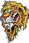 Lion Head Cartoon Mascot Illustrati