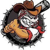 Cartoon Cowboy Baseball Face Holdin
