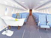 luxury bathtube in airplane