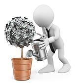 3D white people. Businessman watering a money plant