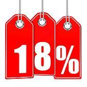 Discount 18 percent off. 3D illustration.