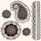 Henna Paisley Flower Doodles Vector