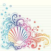 Sketchy Beach Oyster Seashell Doodl