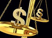 Dollar and paragraph sign on a brass scale , 3d illustration