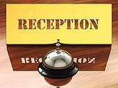 Chrome service bell and brass reception plate ,3d illustration